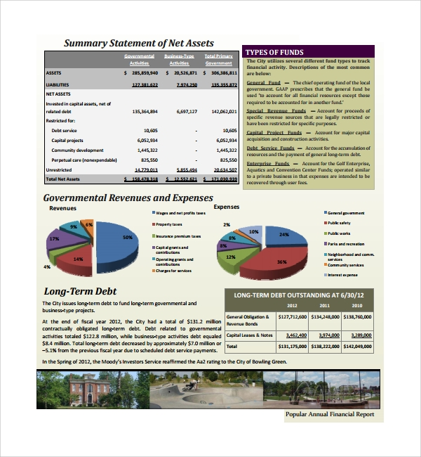 Popular Annual Financial Report Template