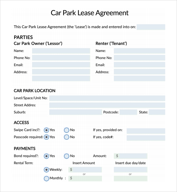 Parking Agreement Template. Lease Agreement Office Template