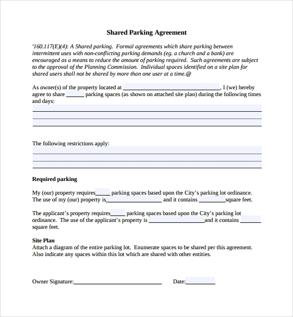 Sample Parking Agreement Template 9 Free Documents In