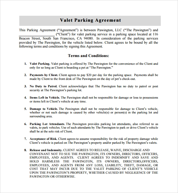 Sample Parking Agreement Template - 10+ Free Documents in PDF, Word