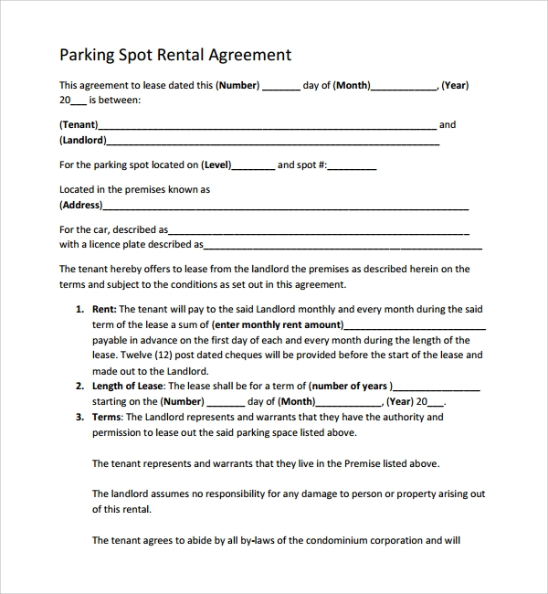 11+ Parking Agreement Templates | Sample Templates