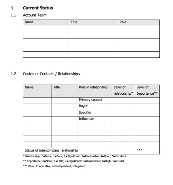 Sample Account Plan Template 9 Free Documents in PDF Word – Account Plan Template