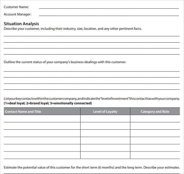 customer account plan template