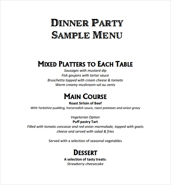 Sample Spa Menu Template. Dinner Party Menu Template Sample Event