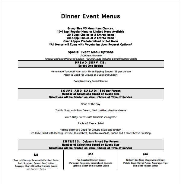 dinner event menu template%ef%bb%bf