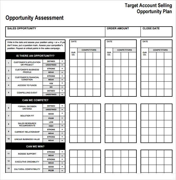 target account selling plan template