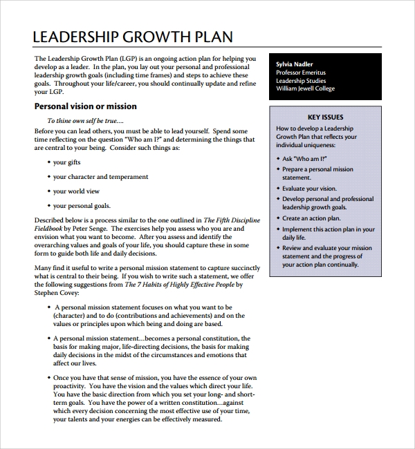 Leadership Growth Plan Template  Daily Action Plan Template