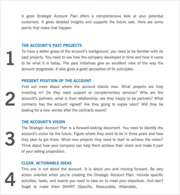 sample strategic account plan template