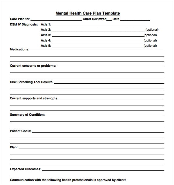 mental health plan template