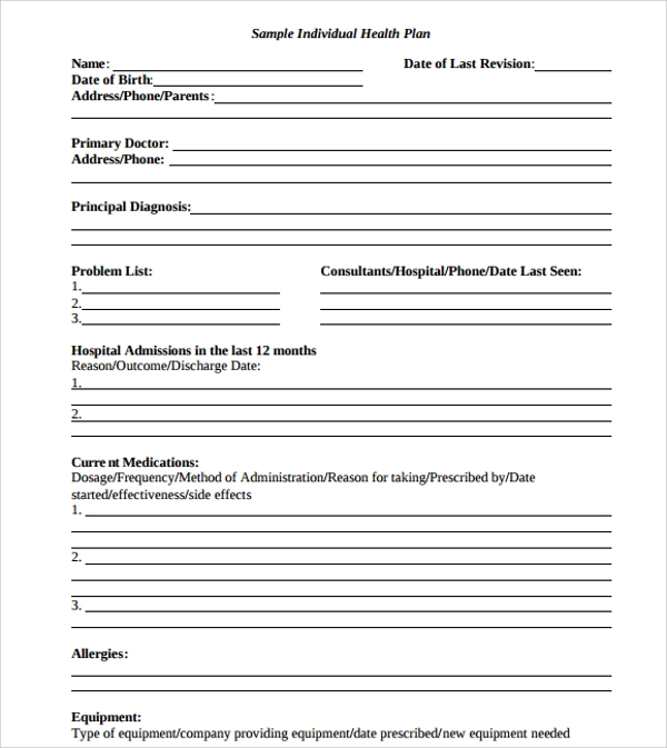 Sample Health Plan Template -10+ Free Documents In Pdf, Word