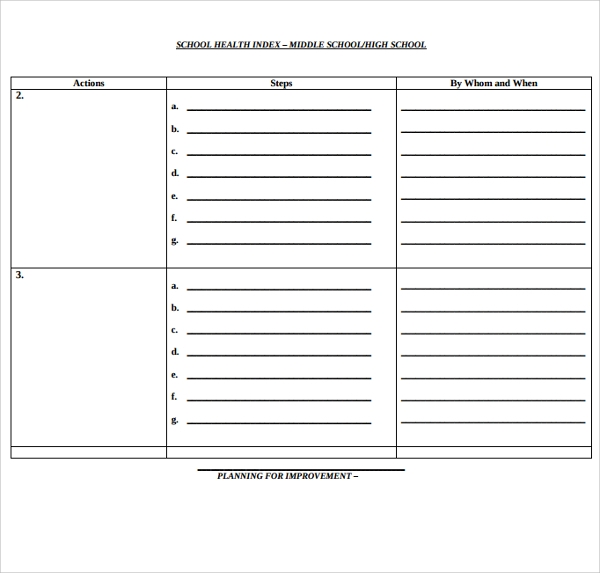 school health plan template