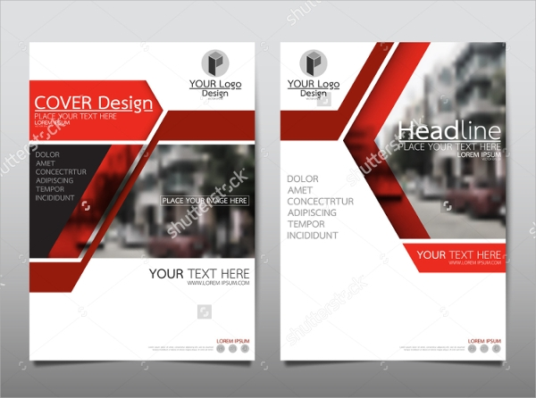 red colored technology brochure template