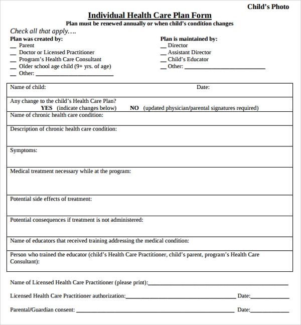 individual health care plan form template