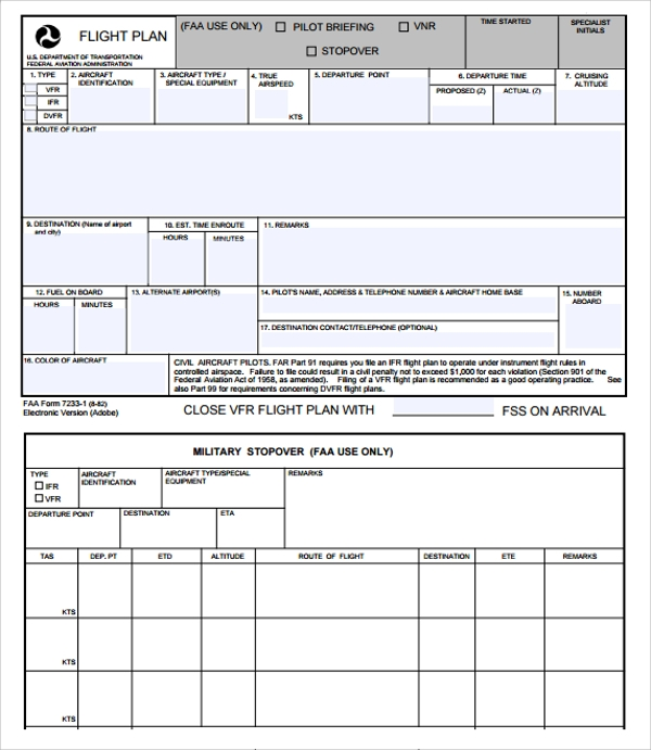 Sample Flight Plan Template   Free Documents In Pdf Word