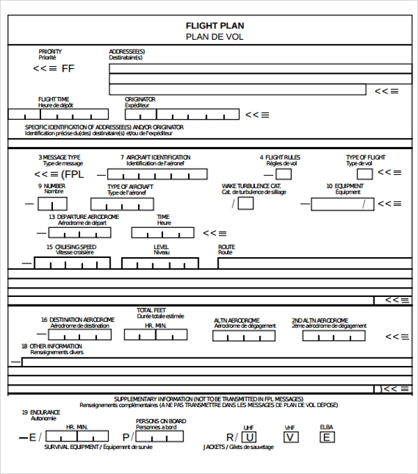 Sample Flight Plan Template 9 Free Documents in PDF Word – Flight Plan Template