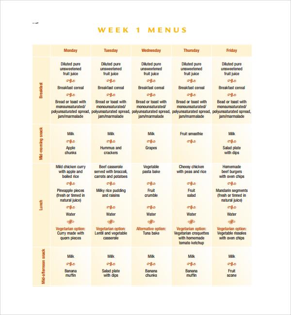 weekly dinner menu template%ef%bb%bf1