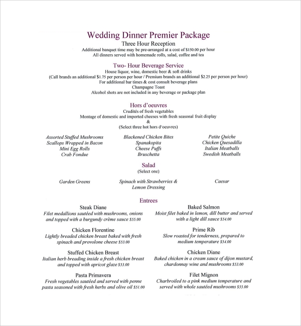 Wedding Dinner Menu Template  Formal Dinner Menu Template