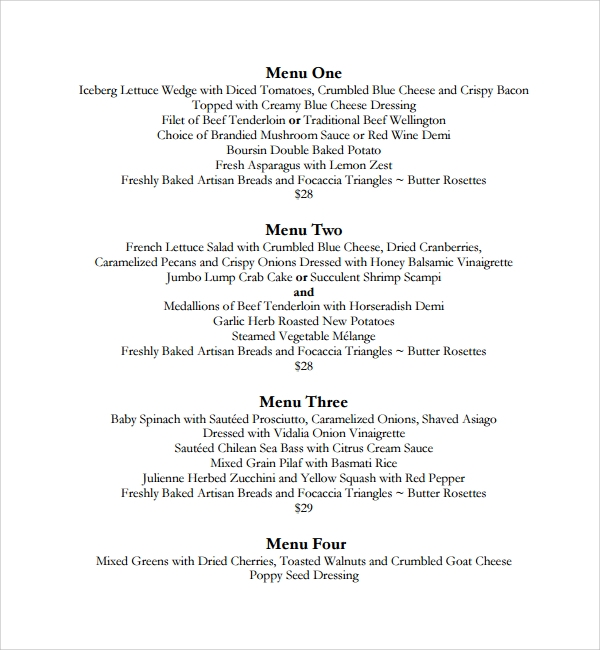 9 dinner menu templates sample templates for Burns supper menu template
