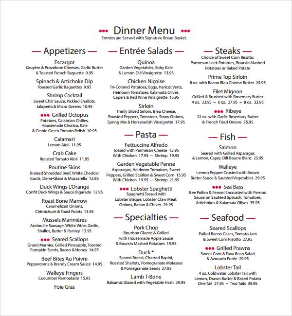 sample dinner menu template%ef%bb%bf