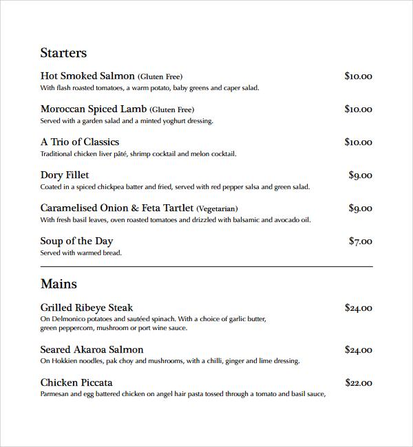 simple dinner menu template%ef%bb%bf