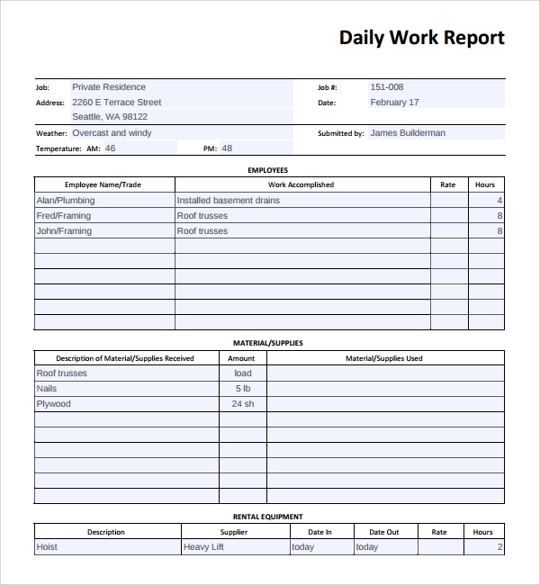 Sample Daily Work Report Template 7 Free Documents In Pdf