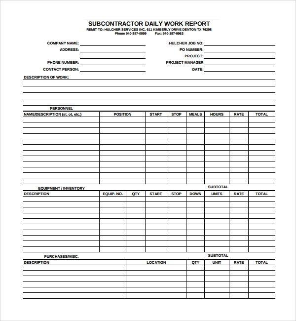 Work report template best business template Find subcontracting work