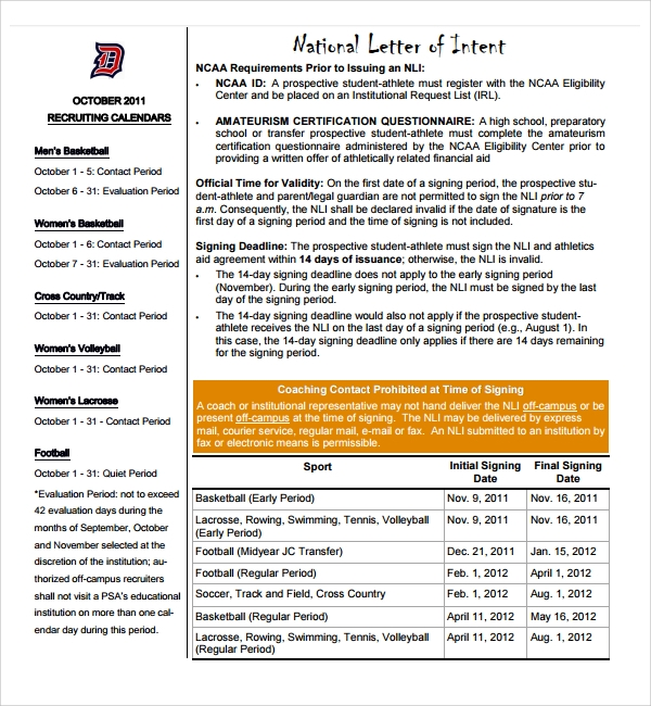 ncaa letter of intent sample national letter of intent 9 free documents in 23755 | National Letter of Intent Questionnaire