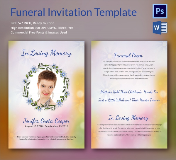 Sample Funeral Invitation Template 12 Documents in Word PSD – Funeral Invitation Card