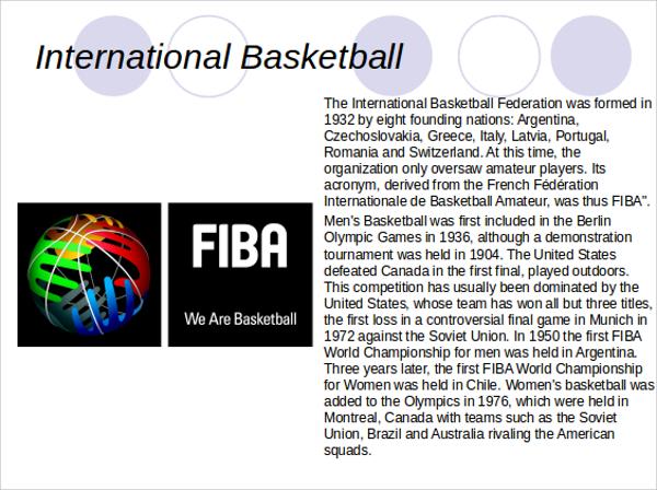 international basketball powerpoint ppt