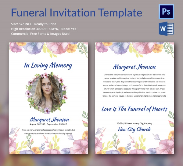 Sample Funeral Invitation Template 12 Documents in Word PSD – Funeral Announcement Template Free