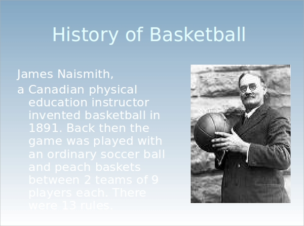 It Is All About Basketball History Of Game: Sample Basketball PowerPoint Template
