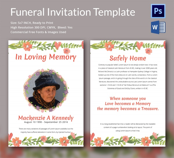 Sample Funeral Invitation Template   Documents In Word Psd
