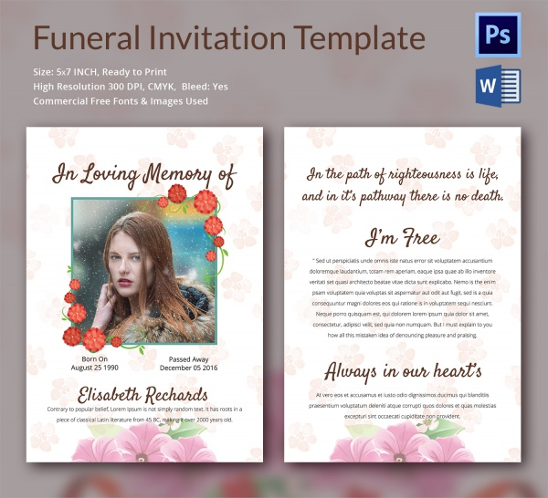 Sample Funeral Invitation Template 12 Documents in Word PSD – Free Funeral Announcement Template