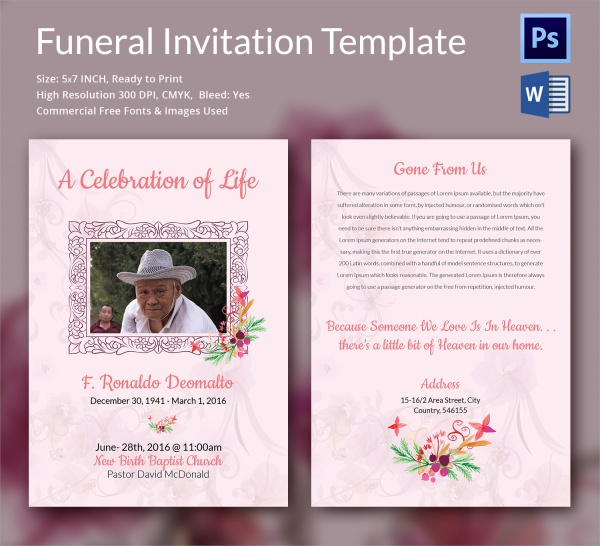 Funeral Invitation Template Dark Grey Floral Funeral Invitation
