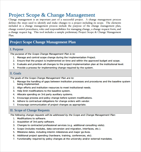 Sample change management plan template 12 free for Documents for change management