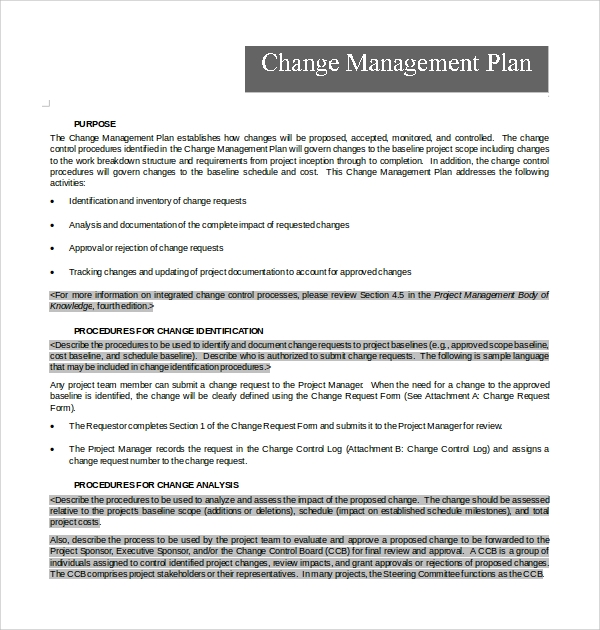 Sample Change Management Plan Template 9 Free Documents