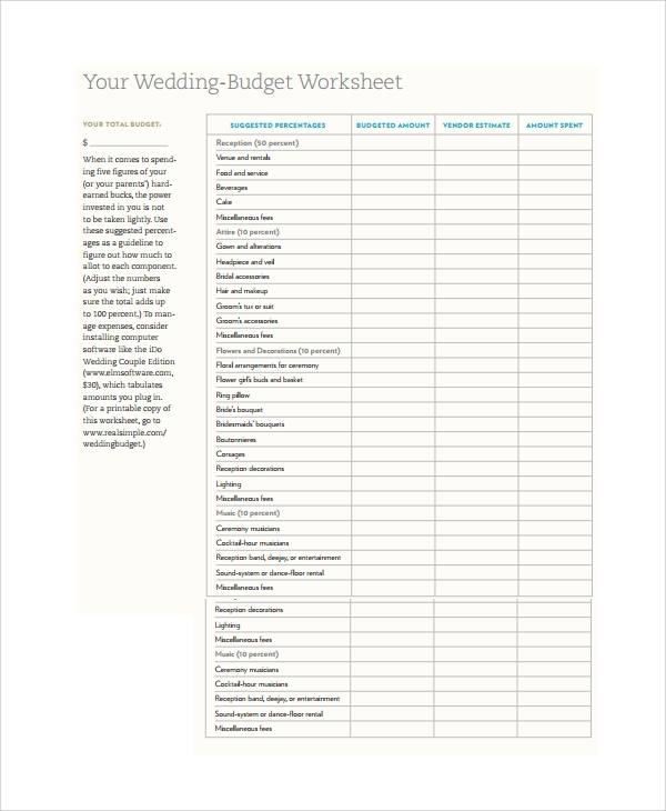 Wedding Budget Worksheet Wedding Budget Checklist Best