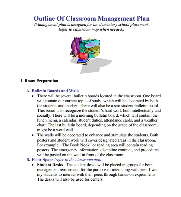 Classroom Management Design : Sample classroom management plan template free