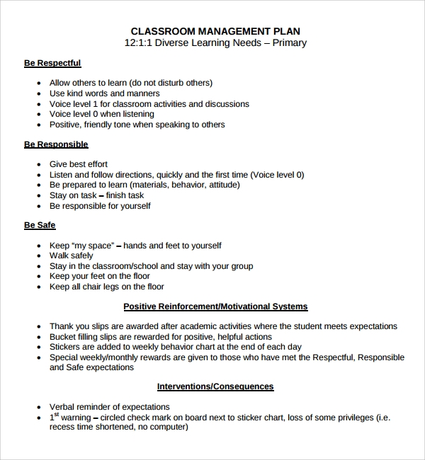 Sample Classroom Management Plan Template   Free Documents In