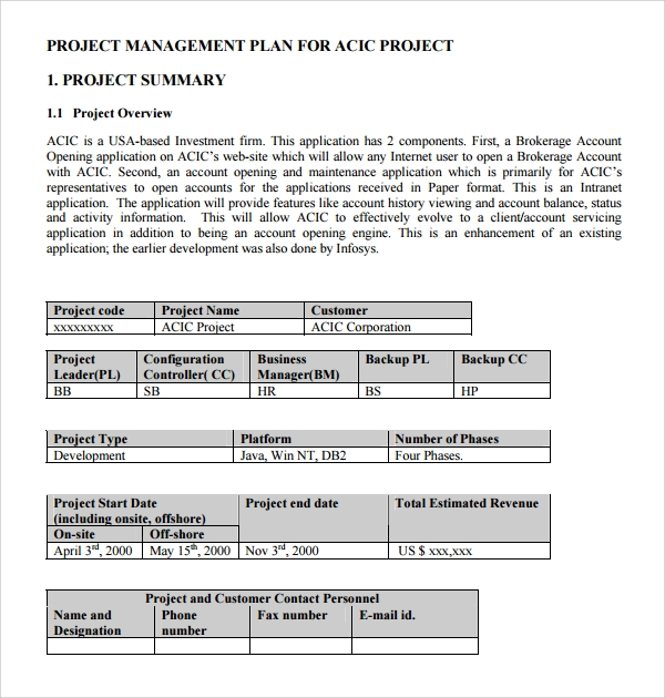 project management policy template - 9 configuration management plan templates sample templates