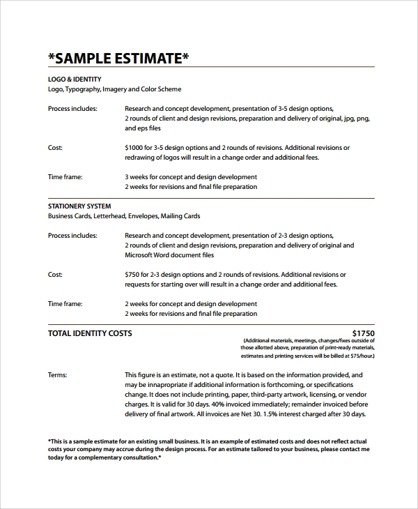 Sample Business Estimate Template 7 Free Documents