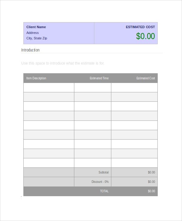 sample business estimate template
