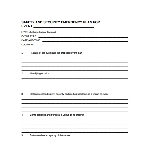 10 security plan templates sample templates for Event safety plan template