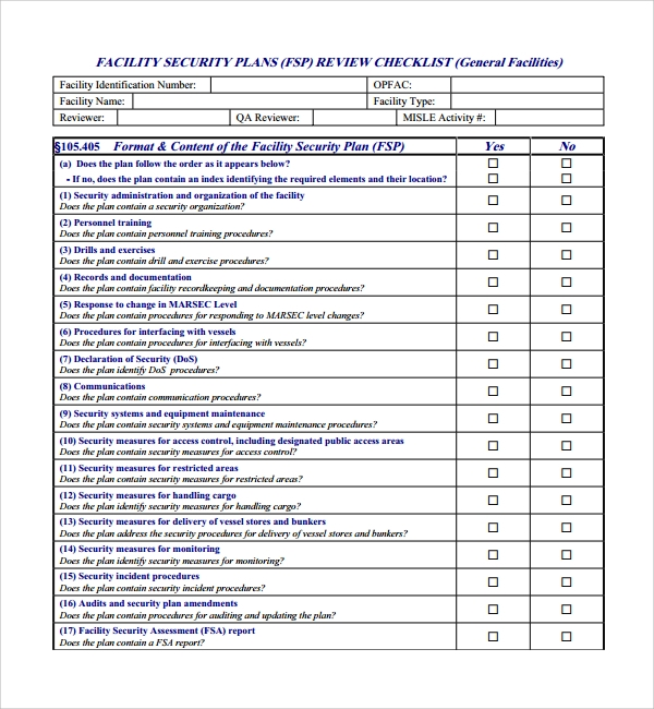 10 security plan templates sample templates for Cctv checklist template