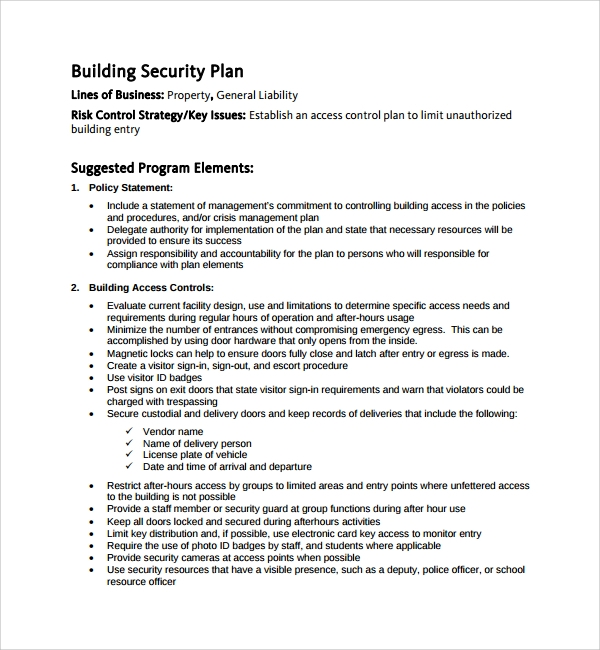 Sample Security Plan Template   Free Documents In Pdf Word
