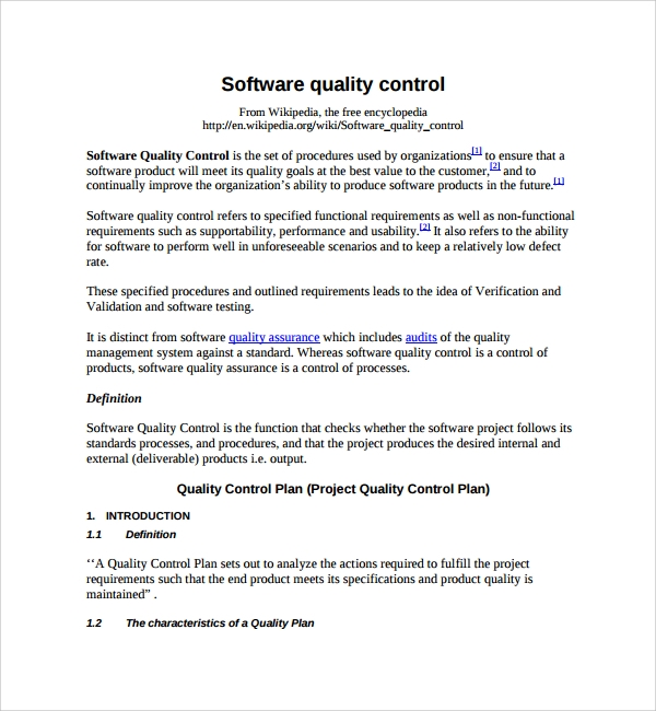 Sample Quality Control Plan Template   Free Documents In Pdf Word