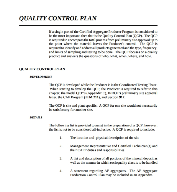 free quality control plan template%ef%bb%bf