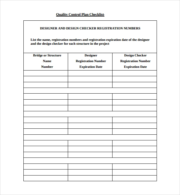 9 quality control plan templates sample templates for Quality control plan template for manufacturing