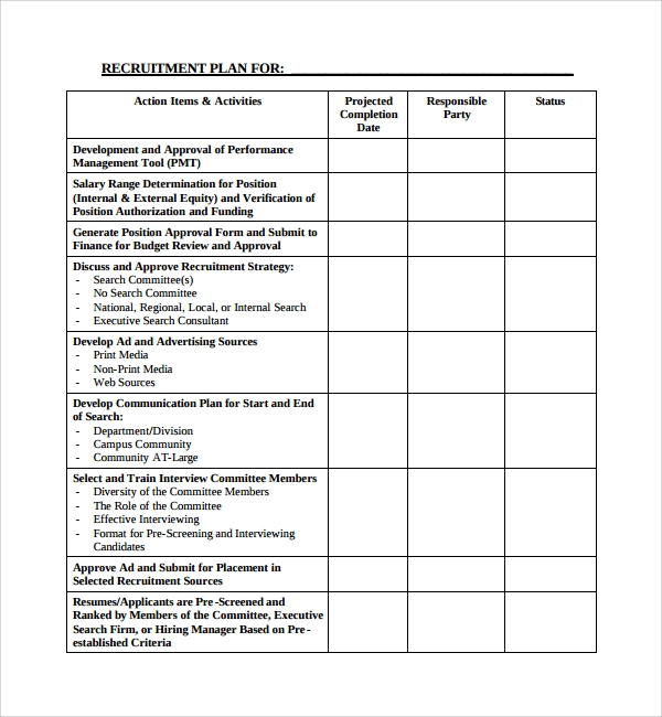 sample recruiting plan template 9 free documents in pdf With recruitment action plan template