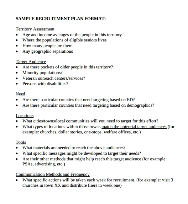 Sample Recruiting Plan Template   Free Documents In Pdf Word